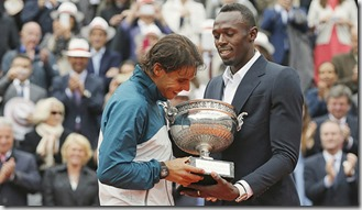 Rafa Nadal y Usain Bolt, foto Gonzalo Fuentes, Reuters