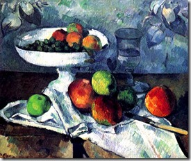 Cezanne, naturaleza muerta con frutas